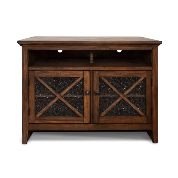 Savannah Antique Charcoal Wood Two Shelves 50 Inch TV Console 3546AC-50