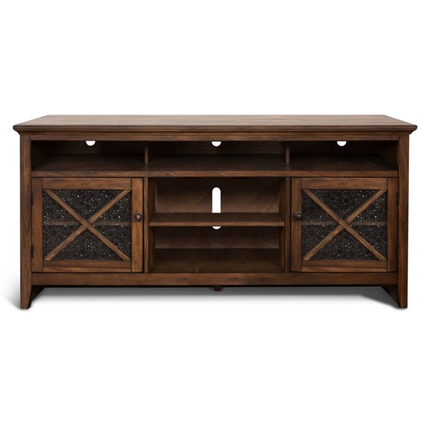 Savannah Antique Charcoal Wood Five Shelves 74 Inch TV Console 3546AC-74