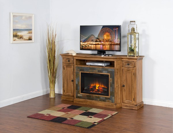 Sedona Rustic Oak Wood Two Drawers And One Shelves TV Console 3551RO
