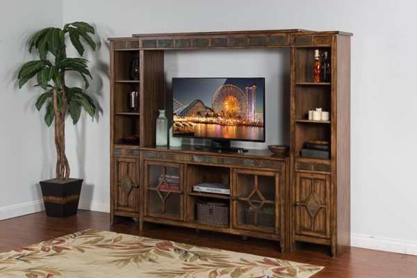 Coventry Burnish Mocha Wood Open Storage Entertainment Wall 3553BM-ENT-S1