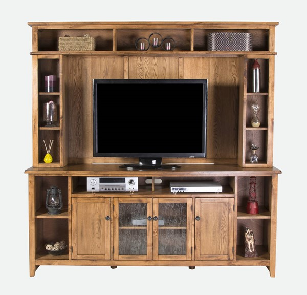 Sedona Rustic Oak Wood Open Storage Entertainment Center 3559RO-ENT