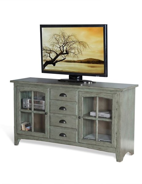 Green Wood Glass Drawers And Shelves Elements 64 Inch TV Console 3562GN-64