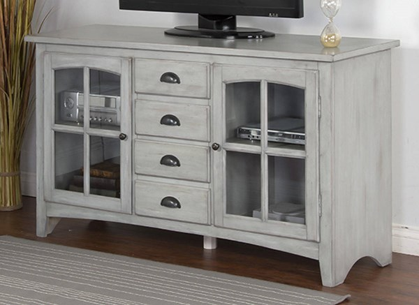 Gray Wood Glass Drawers And Shelves Elements 64 Inch TV Console 3562GY-64