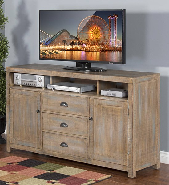Sunny Designs Durango Weathered Brown 66 Inch TV Console 3563WB-66
