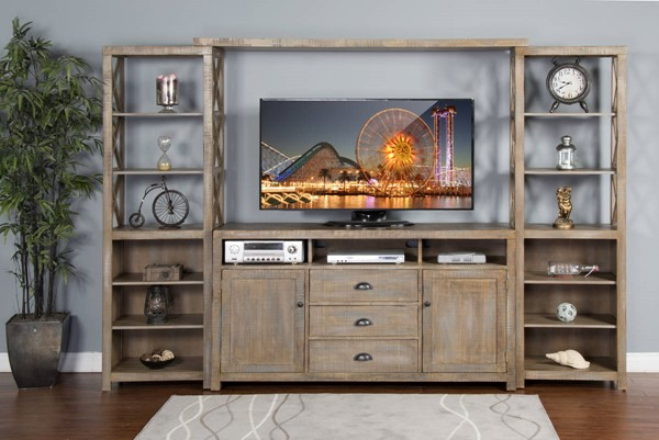 Weathered Brown Wood Entertainment Center w/60 Inch TV Console 3563WB-ENT-S1