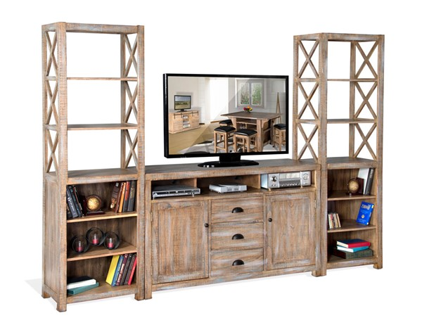 Sunny Designs Durango Light Brown Blue Entertainment Center with 66 Inch TV Console 3563WB