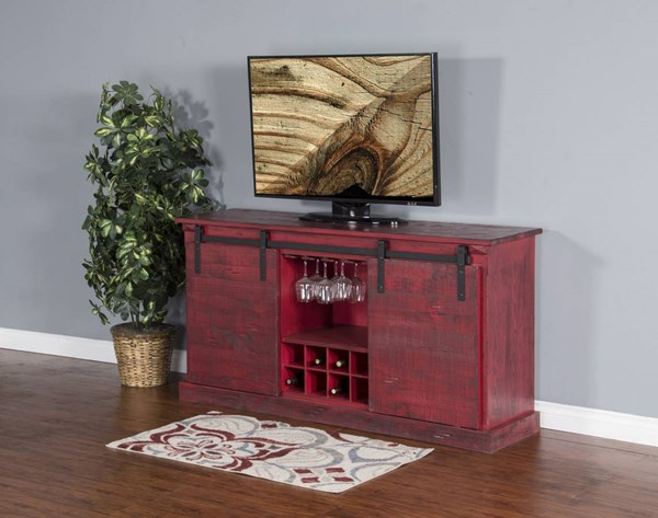 Sunny Designs Burnt Red TV Console 3577BR-B