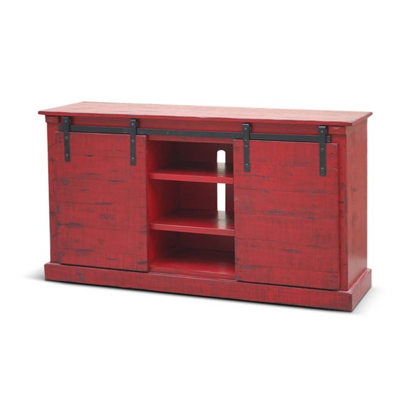 Burnt Red Wood Two Shelves 65 Inch TV Console 3577BR