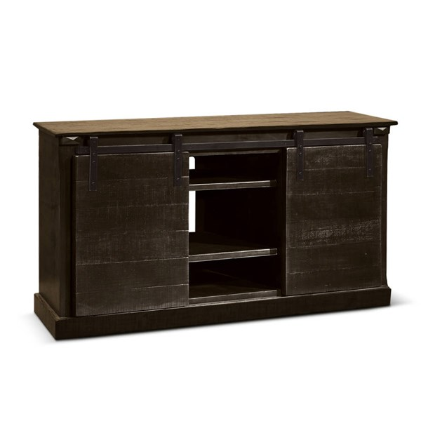 Charred Oak Wood Door Two Shelves 65 Inch TV Console 3577CO