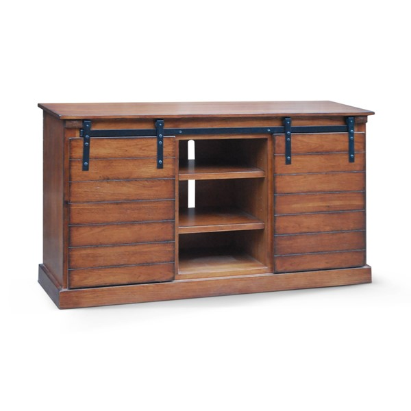 Santa Fe Dark Chocolate Wood Two Shelves 65 Inch TV Console 3577DC
