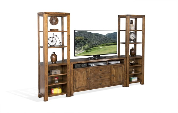 Sunny Designs Carey Live Edge Medium Brown Entertainment Wall 3592NW