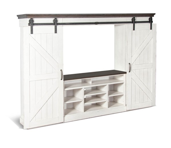 Sunny Designs Carriage House Off White Entertainment Wall 3599EC