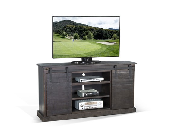 Sunny Designs Charred Oak Barn Door TV Console 3602CO-F