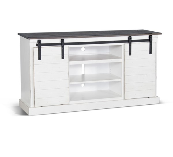 Sunny Designs Off White Dark Brown French Country Barn Door TV Console 3602FC-F