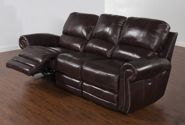 Colorado Burgandy Grain Leather Dual Power Recliner Sofa 5003BU-L3P