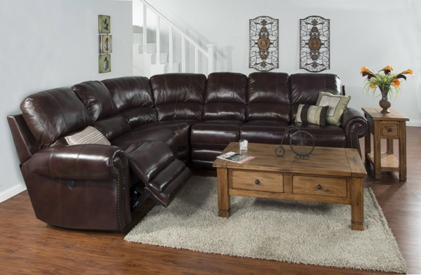Colorado Burgandy Grain Leather Nailheads Sectional K5003BU