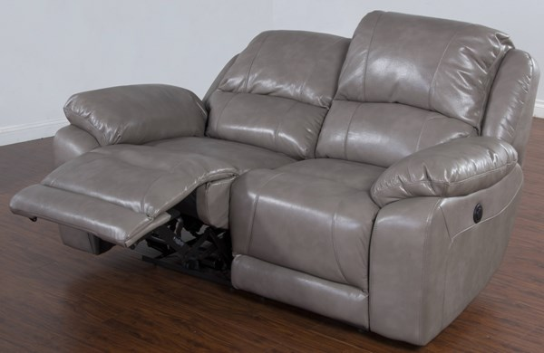 Idaho Taupe Leather Air PU Dual Power Recliner Loveseat 5201TP-L2P
