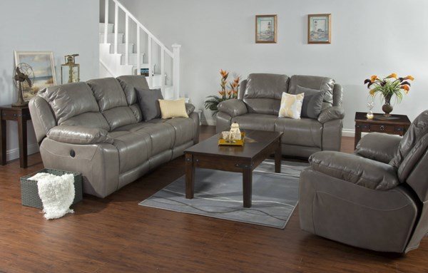 Idaho Taupe Leather Air PU 3pc Living Room Set 5201TP-LR-S1