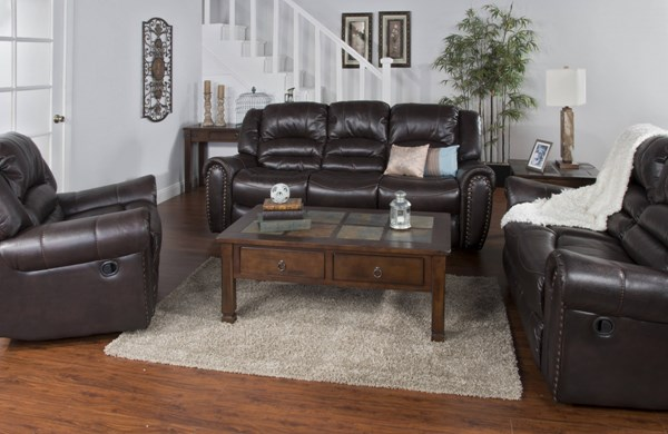Wyoming Mocha Leather Air PU 3pc Living Room Set 5202MO-LR-S1