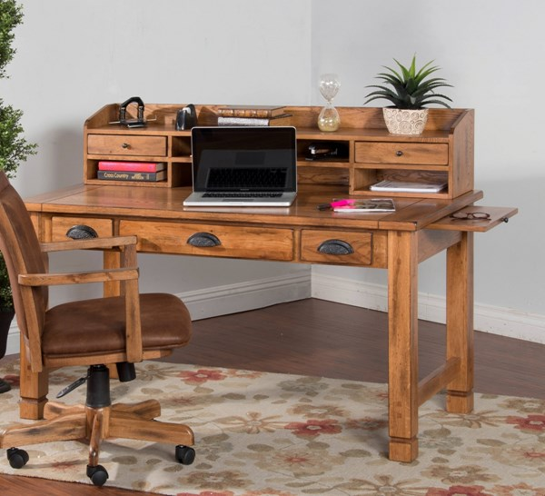 Sedona Traditional Rustic Oak Wood Laptop Writing Desk With Hutch K2865RO