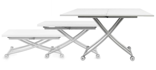 Space Master High Gloss White Transforming X Coffee and Dining Table SPM-CO-2219-GLSWHT