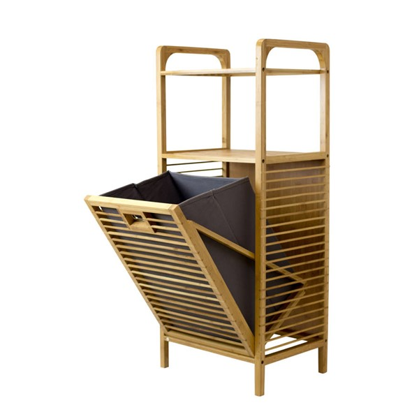Space Master Natural Bamboo Polyester Hamper Shelf SPM-SM-TBH-002