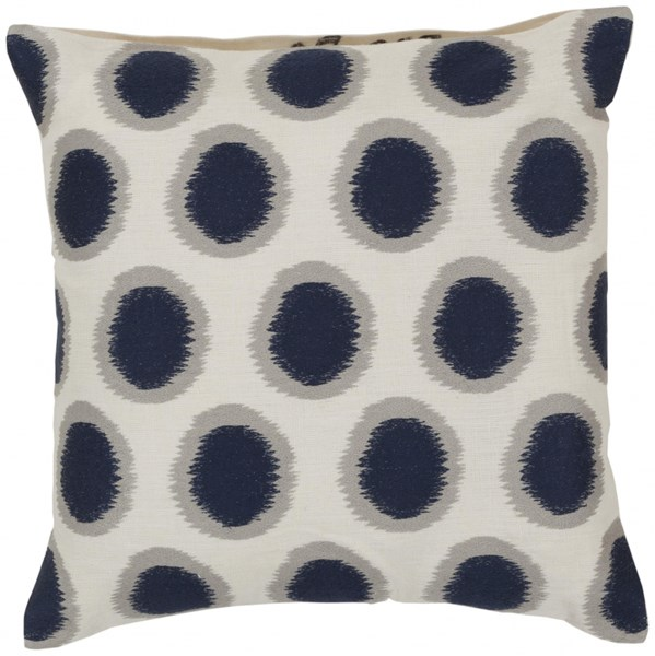 Ikat Dots Ivory Cobalt Light Gray Poly Linen Throw Pillow - 18x18x4 AR088-1818P