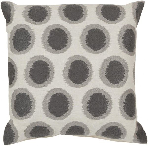 Ikat Dots Ivory Slate Light Gray Down Linen Throw Pillow - 20x20x5 AR090-2020D