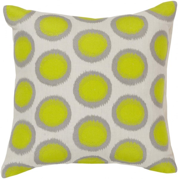 Ikat Dots Ivory Lime Gray Down Linen Throw Pillow - 20x20x5 AR091-2020D
