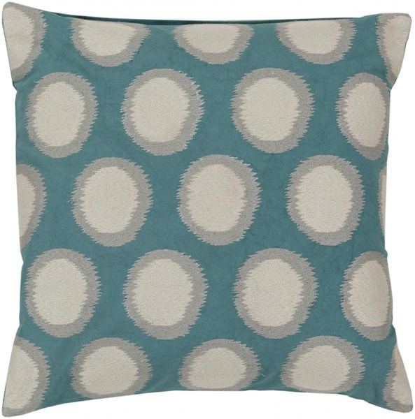 Ikat Dots Teal Ivory Light Gray Poly Linen Throw Pillow - 22x22x5 AR095-2222P
