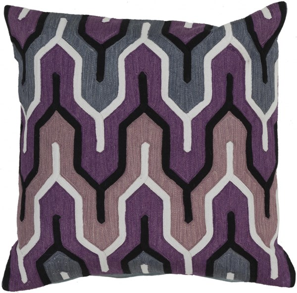 Aztec Slate Eggplant Light Gray Poly Cotton Throw Pillow - 18x18x4 AR107-1818P