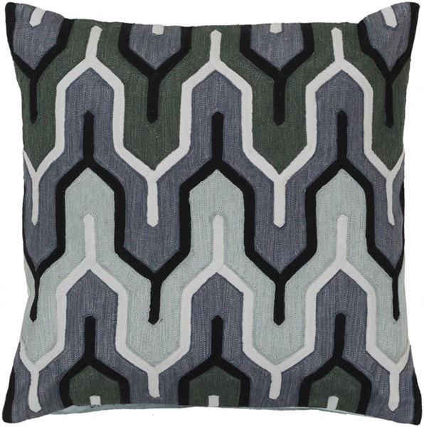 Aztec Slate Taupe Charcoal Moss Poly Cotton Throw Pillow - 22x22x5 AR112-2222P