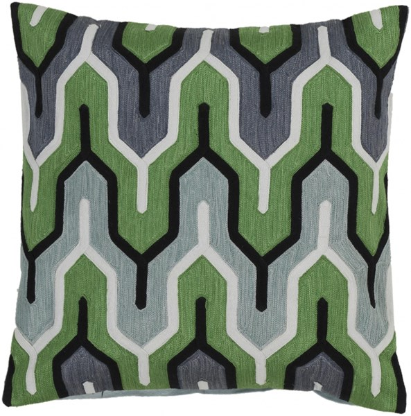Aztec Forest Mint Charcoal Ivory Down Cotton Throw Pillow - 22x22x5 AR114-2222D