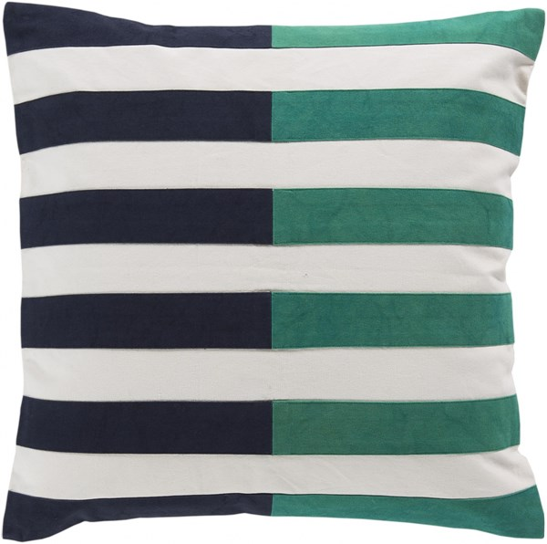 Oxford Slate Green Ivory Down Cotton Throw Pillow - 20x20x5 AR132-2020D