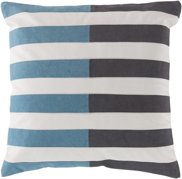 Oxford Gray Teal Ivory Poly Cotton Throw Pillow - 22x22x5 AR134-2222P