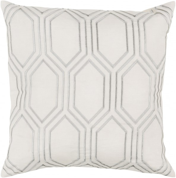 Skyline Contemporary Ivory Light Gray Fabric Throw Pillows 13577-VAR1
