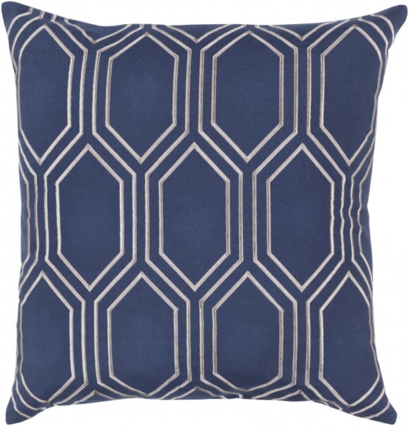 Skyline Cobalt Light Gray Fabric Throw Pillow (L 22 X W 22 X H 5) BA007-2222D