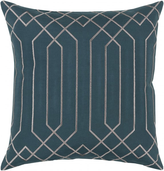 Skyline Teal Light Gray Fabric Down Throw Pillow (L 18 X W 18 X H 4) BA022-1818D
