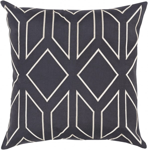 Skyline Black Gray Fabric Throw Pillow (L 22 X W 22 X H 5) BA025-2222P