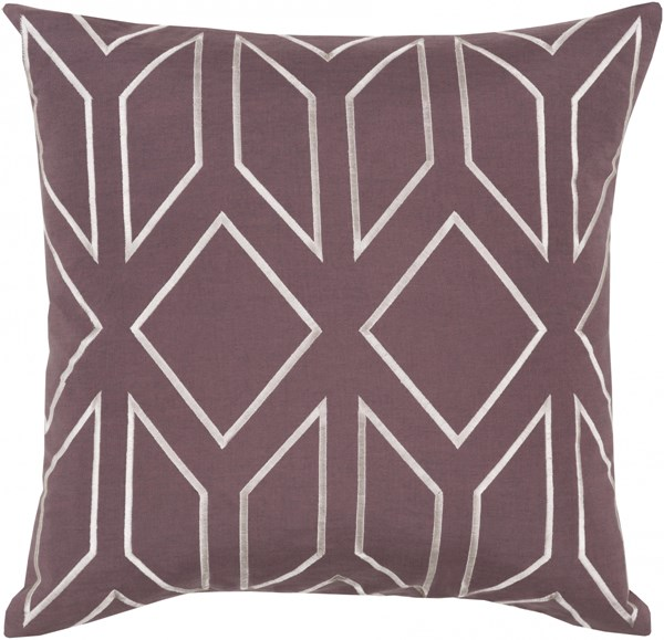 Skyline Eggplant Ivory Fabric Throw Pillow (L 18 X W 18 X H 4) BA026-1818D