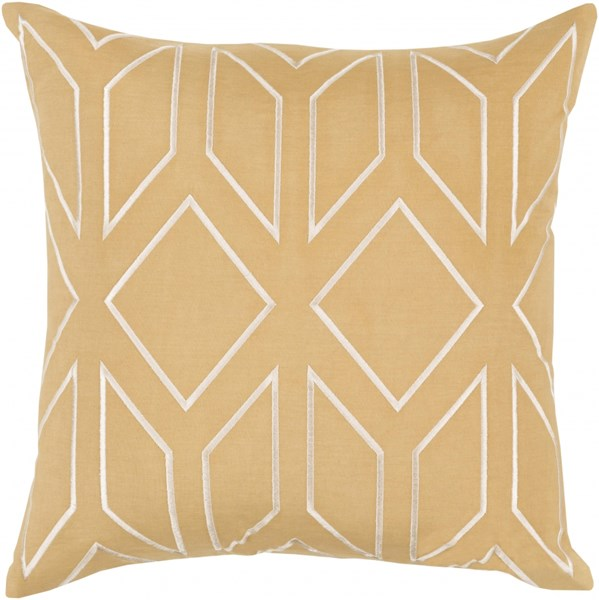 Skyline Gold Beige Fabric Geometric Throw Pillow (L 20 X W 20 X H 5) BA030-2020D