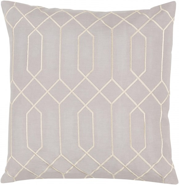 Skyline Gray Beige Fabric Square Throw Pillow (L 18 X W 18 X H 4) BA033-1818D