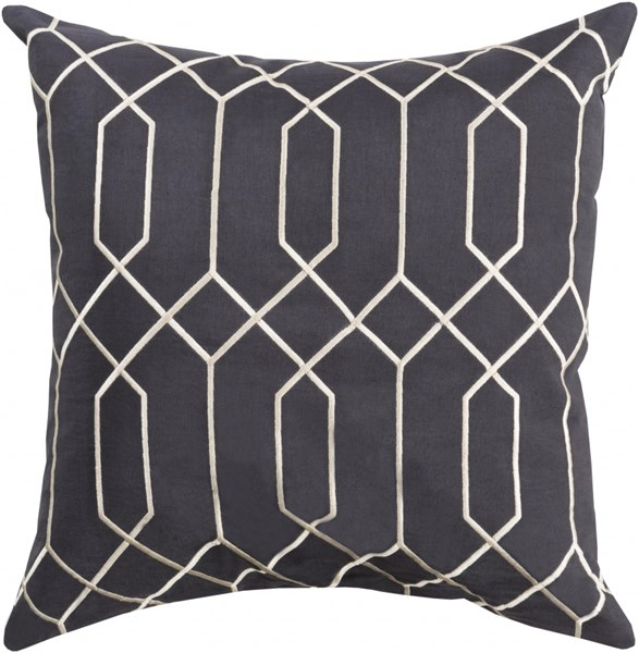 Skyline Black Gray Fabric Throw Pillow (L 18 X W 18 X H 4) BA035-1818P