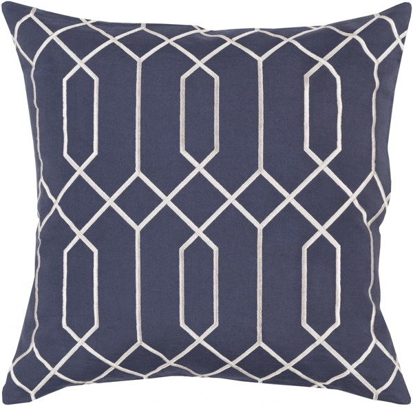 Skyline Navy Light Gray Fabric Down Throw Pillow (L 22 X W 22 X H 5) BA037-2222D