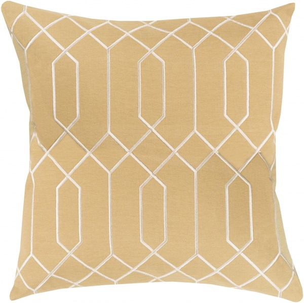 Skyline Contemporary Gold Beige Fabric Throw Pillow (L 20 X W 20 X 5) BA040-2020D