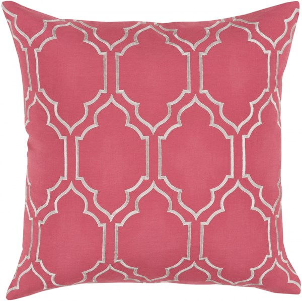 Skyline Trellis Pillow with Down Fill in Carnation - 18 x 18 x 4 BA052-1818D