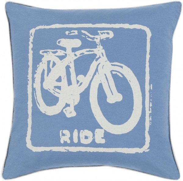 Big Kid Blocks Cobalt Fabric Down Throw Pillow (L 22 X W 22 X H 5) BKB017-2222D