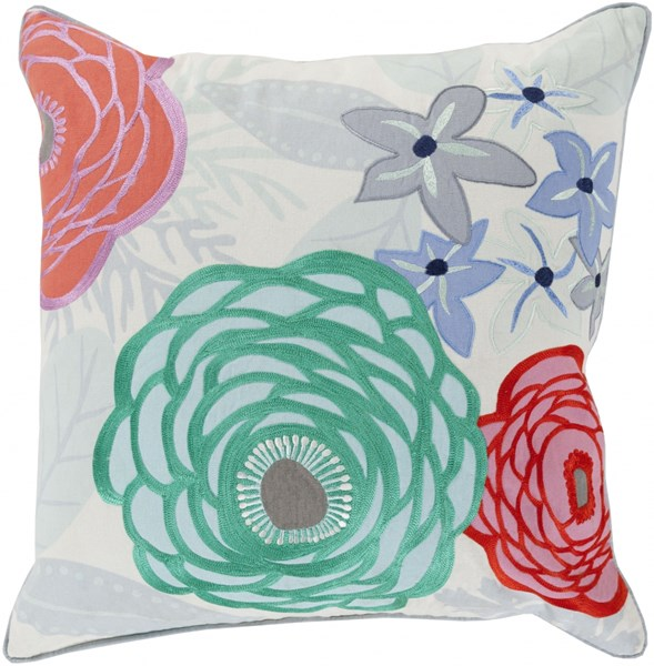 Buttercup Coral Sky Blue Gray Poly Cotton Throw Pillow - 22x22x5 BTC003-2222P