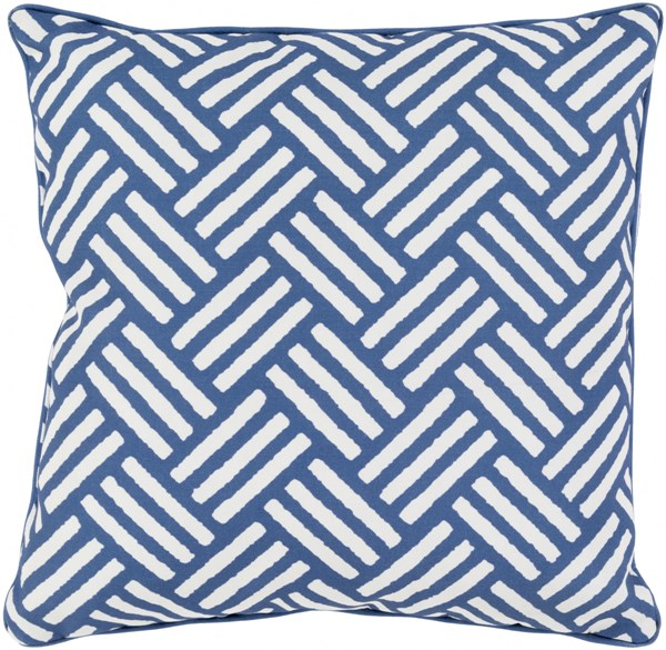 Basketweave Cobalt Ivory Polyester Throw Pillow - 20x20x5 BW001-2020
