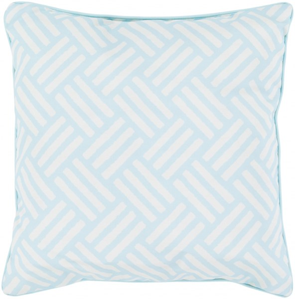 Basketweave Teal Ivory Polyester Throw Pillow - 20x20x5 BW002-2020